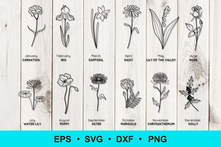 Birth Flowers Clip Art | Vector Files