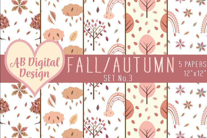 Fall Digital Paper Background, Pink Autumn Tones, Leaves