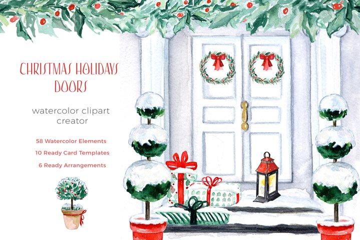 Christmas Holidays Doors Creator. Watercolor Clipart.