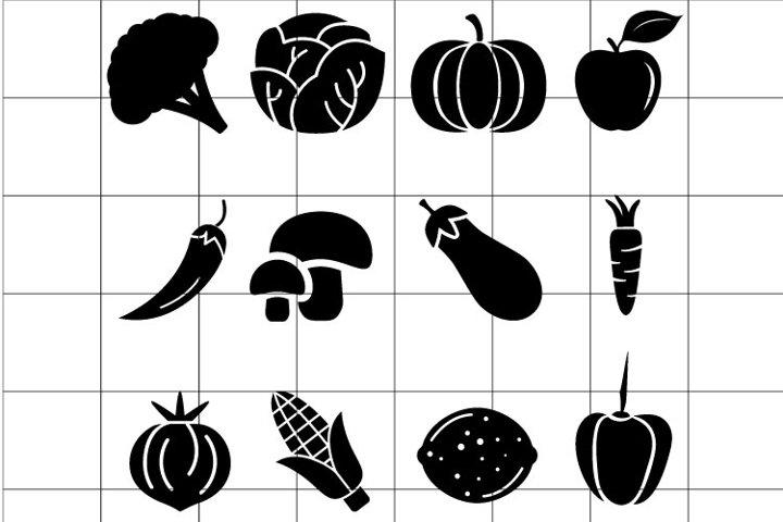 Vegetables SVG set for cut. Eco food symbol.