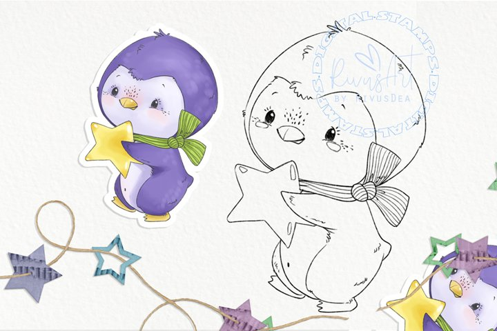 Christmas Digital stamp - Cute penguin with star coloring