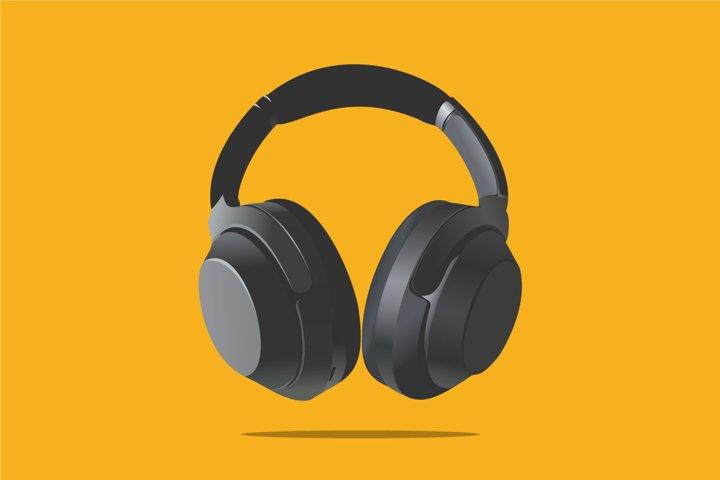Black Headphones vector illustration