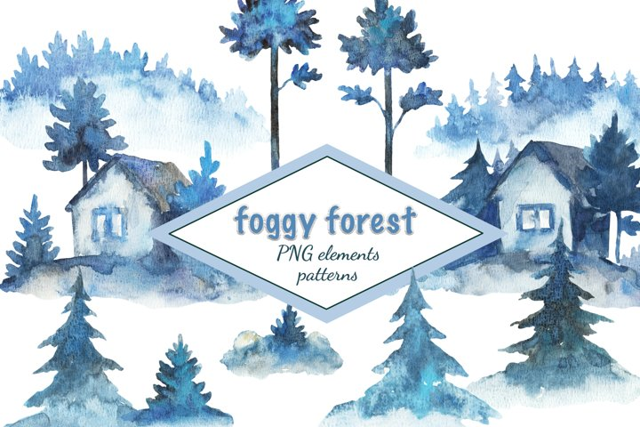 Foggy forest. Watercolor painted set