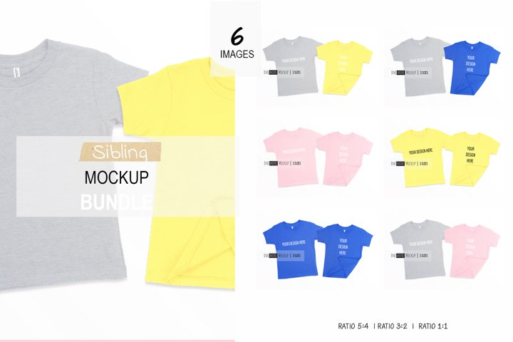 Sibling Tshirts Mockup Bundle| Bella Canvas 3001 T