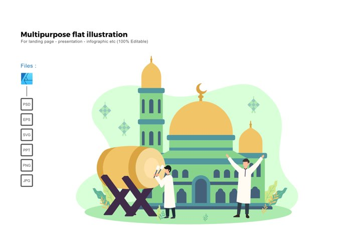 Flat illustration ied mubarak 2020