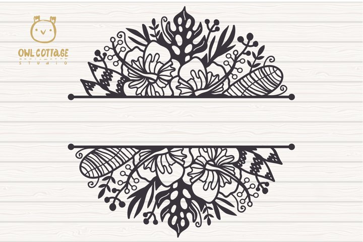 Tropical Border SVG, Luau Decor SVG File, Wedding Flowers example 1