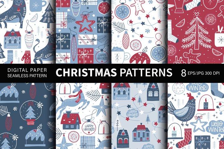 Christmas seamless patterns. Digital paper.