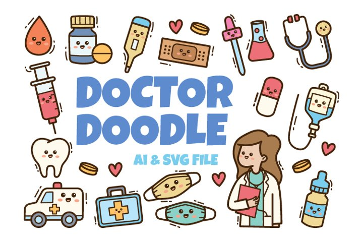Doctor Kawaii Doodle Illustration