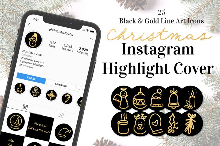Christmas Black Gold Instagram Highlight Cover Icons