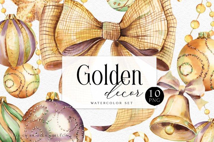 Golden Christmas clipart Watercolor holiday clip art winter