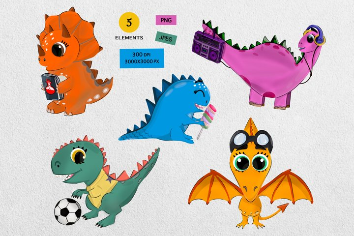Nursery funny dinosaurs clipart and graphic illustration png