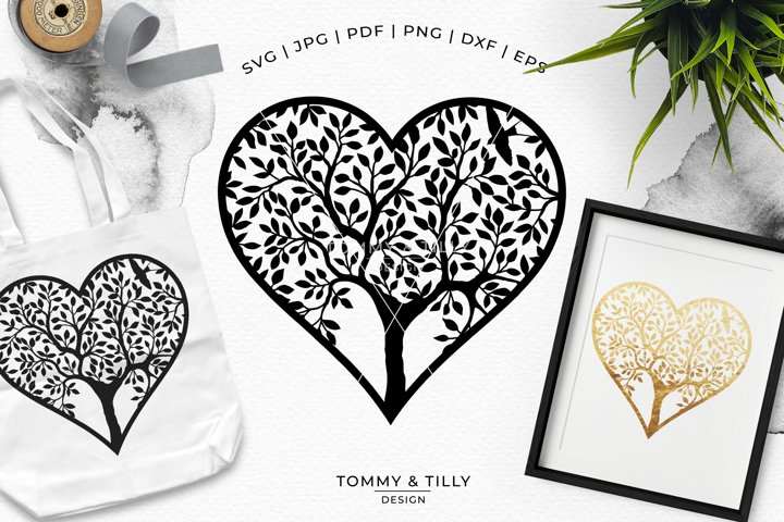 Heart Tree - Papercut Template SVG EPS DXF PNG PDF JPG example 3