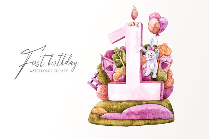Watercolor first birthday bunny clipart. Birthday party