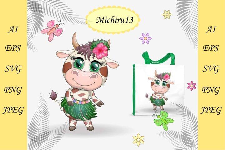 Cute cow character of Hawaiian hula dancer