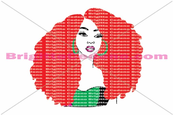 Reeba has super size afro with big hoop earrings svg, png, jpeg, dxf file