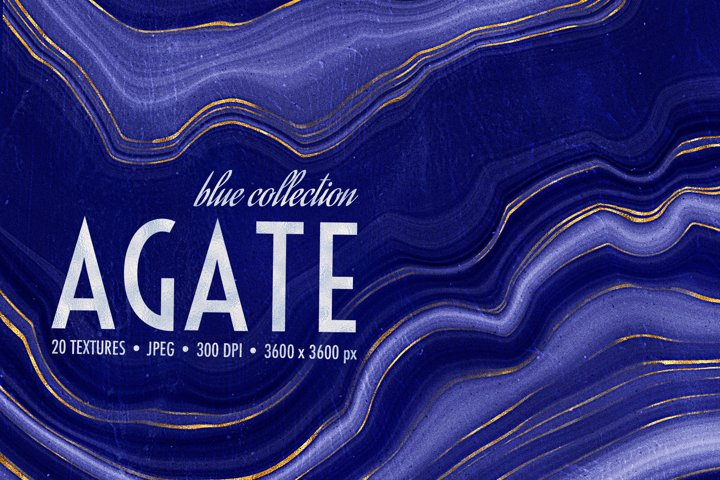 Blue & Gold Agate Geode Textures - 20 Digital Papers