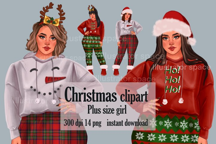 Christmas girl clipart, Plus size girl clipart, Xmas