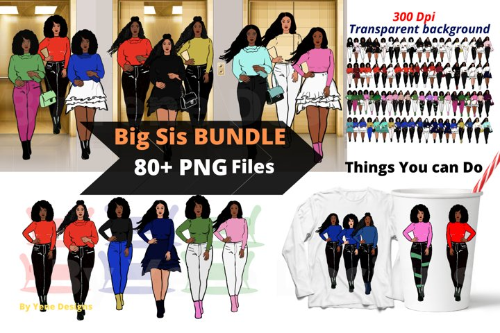 Afro lady Clip art, Big sis bundle, black girl, Afro clipart