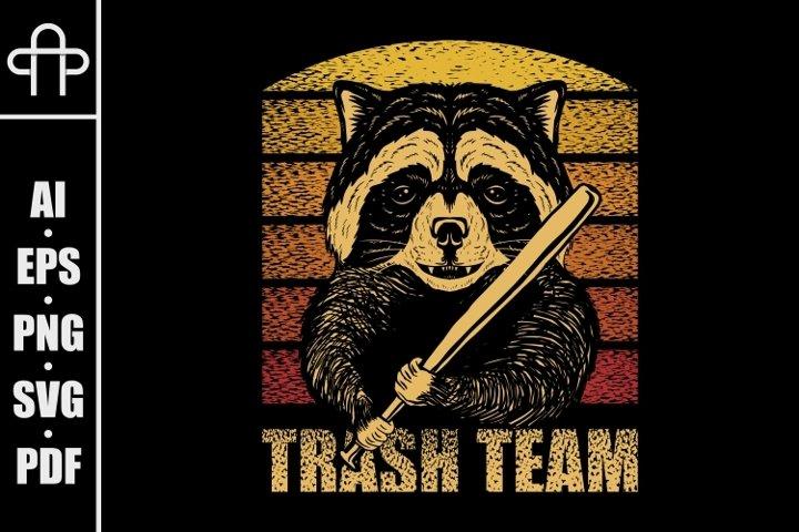 Raccoon stick baseball retro vector illustration
