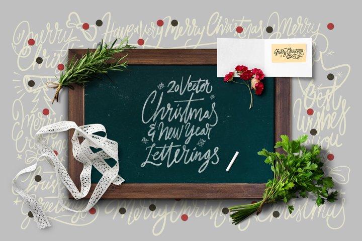 20 Christmas & NYE Letterings Vector