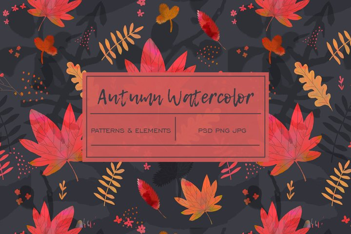 Autumn Leaves Watercolor Pattern