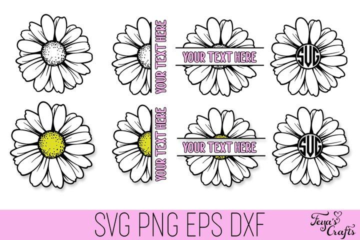 Daisy SVG Cut Files Pack | Daisy Monogram SVG | Half Daisy