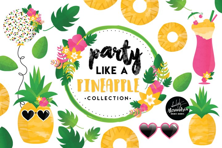 Party Like A Pineapple Clipart Graphics & Digital Paper Patterns Bundle