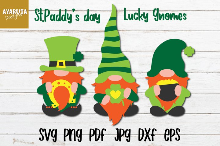 St. Patricks Day Gnomes Lucky Green Gnomes St.Paddys SVG