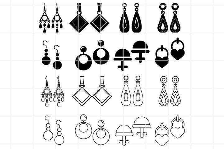 Earrings SVG. Earrings cut files. Jewel cutting set. Vector.