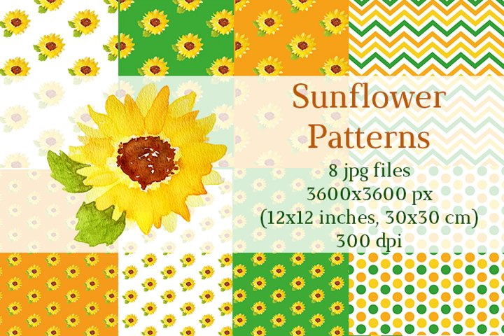 Bundle of Watercolor Sunflower patterns