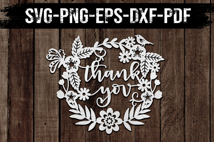 Thank You Wreath Papercut Template, Wedding Clipart, SVG DXF
