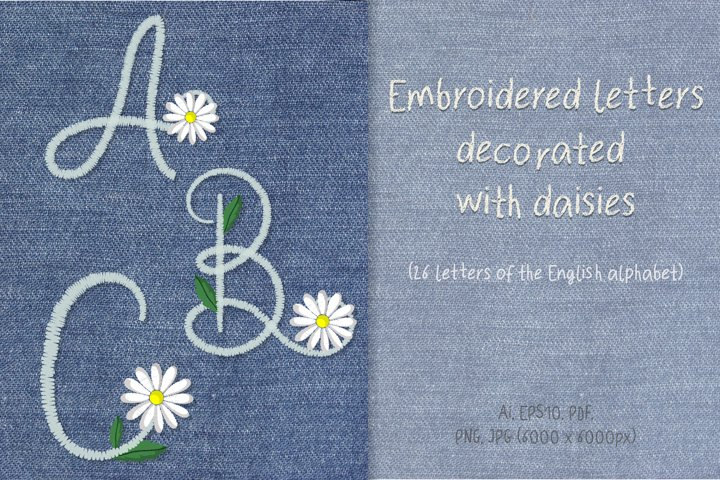 Embroidered letters decorated with daisies.