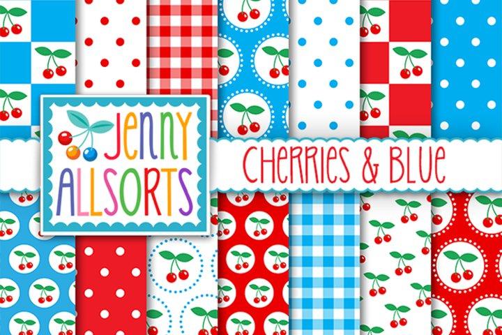 Cherries & Blue Patterns, Cute Background Digital Designs