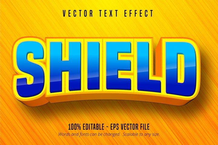Shield text, cartoon style editable text effect