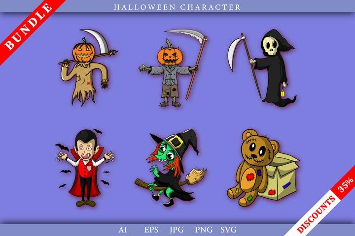 Bundle Halloween Character, Grim Reaper, Witch, Draculla etc
