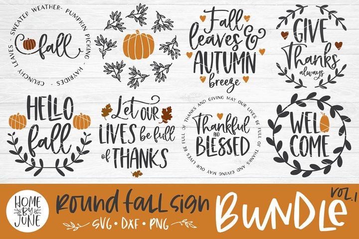 Fall/Autumn Round/Circle Sign Bundle Vol. 1 SVG DXF PNG