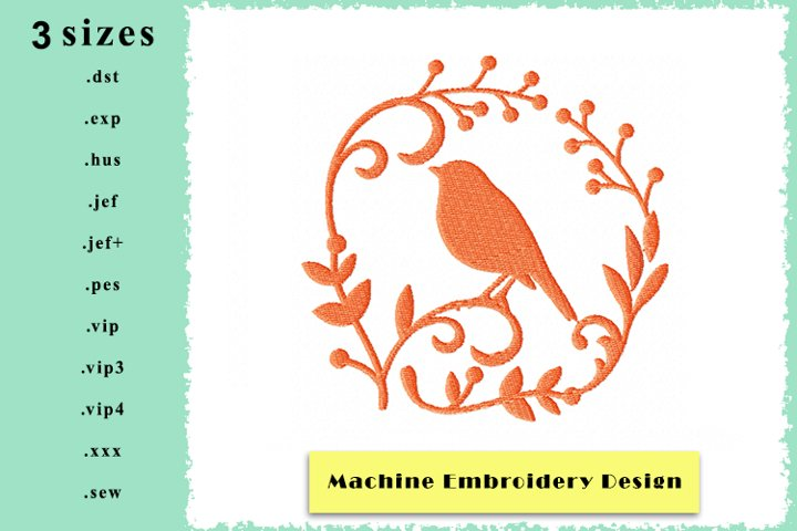 Silhouette Framed Bird Machine Embroidery Design 3 sizes