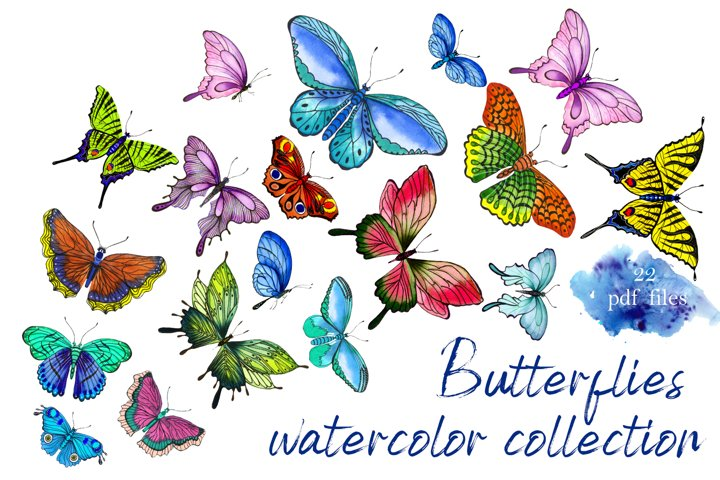 Collection of watercolor butterflies