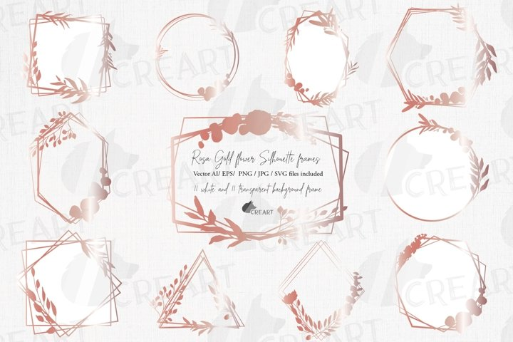 Rose gold geometric floral silhouette frames wedding clipart