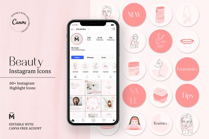 Beauty HIGHLIGHT ICONS for INSTAGRAM Editable with Canva