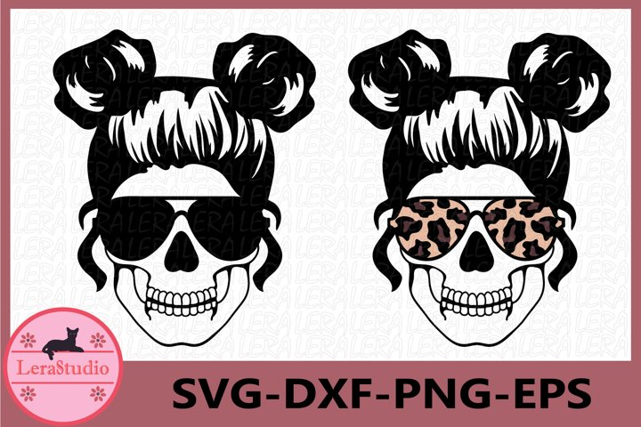Mom life Svg, Skull svg, Mom life with bandana svg