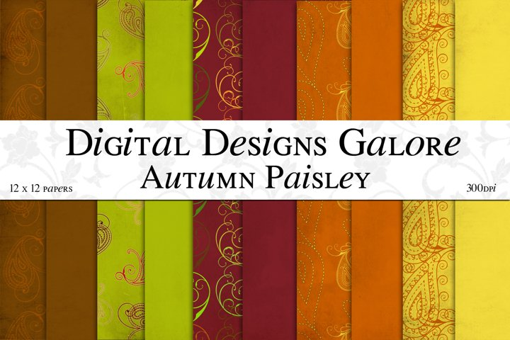 Autumn Paisley Digital Paper Pack