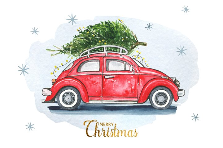 Watercolor red car with Christmas tree. PNG