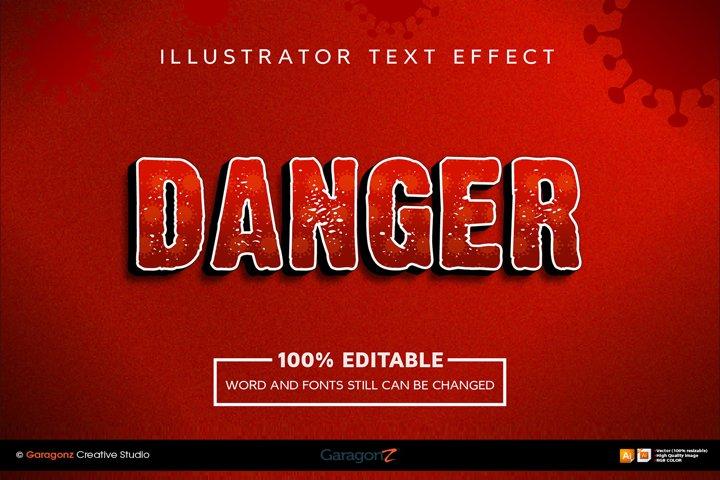 Danger coronavirus text style effects actions