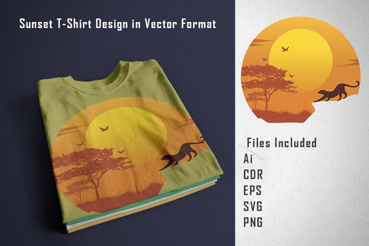 Sunset T-Shirt design in Vector Format
