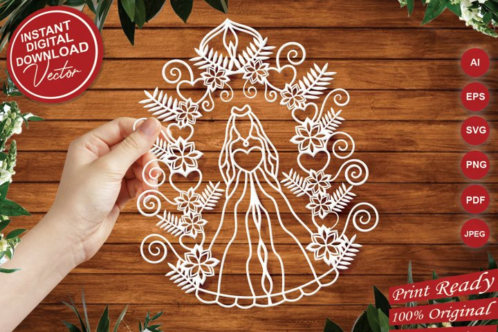 Bride Intricate Paper Cut Design - SVG Cut Files