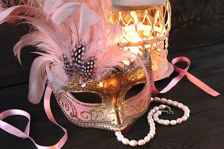 Venice mask and candlestick