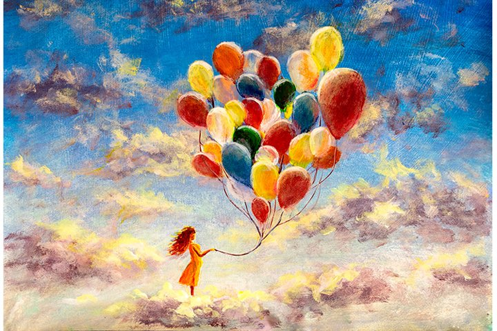 Happy girl with multicolored balloons enjoying on clouds