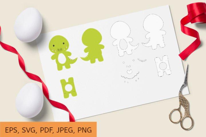 Cute Crocodile Chocolate Egg Holder Design, SVG Cutting File