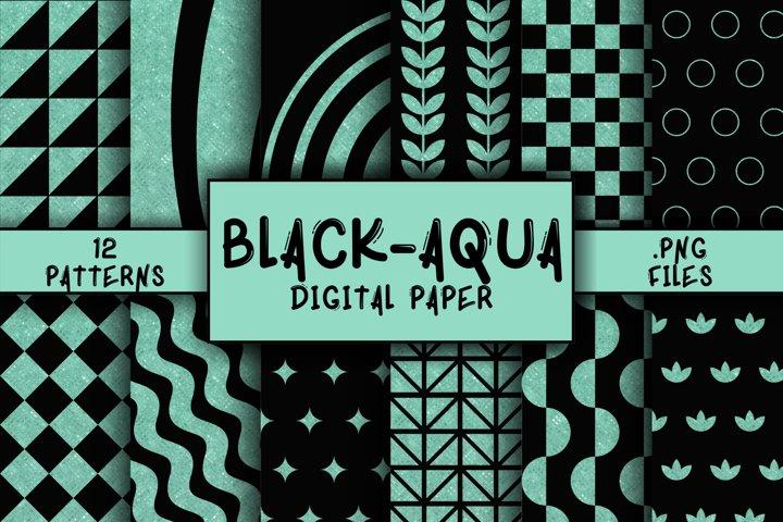 Black-Aqua Pattern Digital Paper
